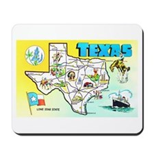 Texas Map Greetings Mousepad