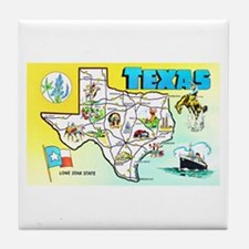 Texas Map Greetings Tile Coaster