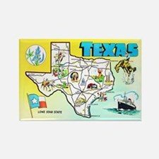 Texas Map Greetings Rectangle Magnet