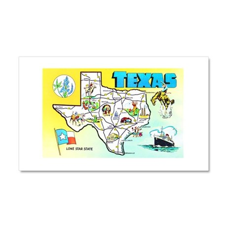Texas Map Greetings Car Magnet 20 x 12