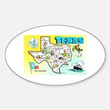Texas Map Greetings Sticker (Oval)