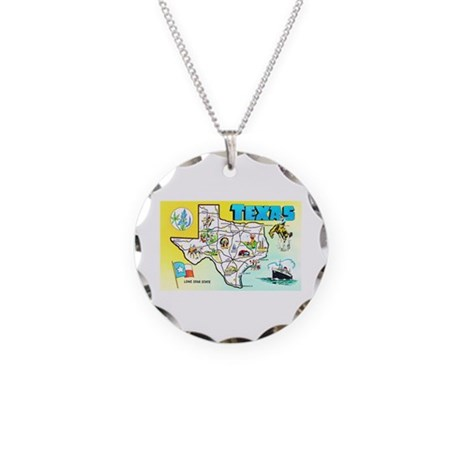 Texas Map Greetings Necklace Circle Charm