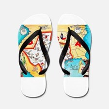 Texas Map Greetings Flip Flops