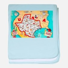 Texas Map Greetings baby blanket