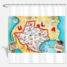 Texas Map Greetings Shower Curtain
