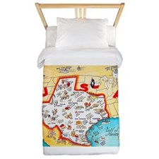 Texas Map Greetings Twin Duvet