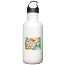 Texas Map Greetings Water Bottle