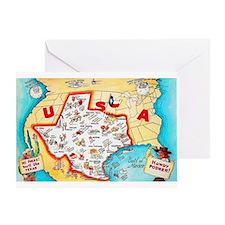 Texas Map Greetings Greeting Card