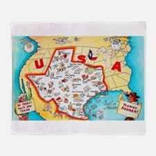 Texas Map Greetings Throw Blanket