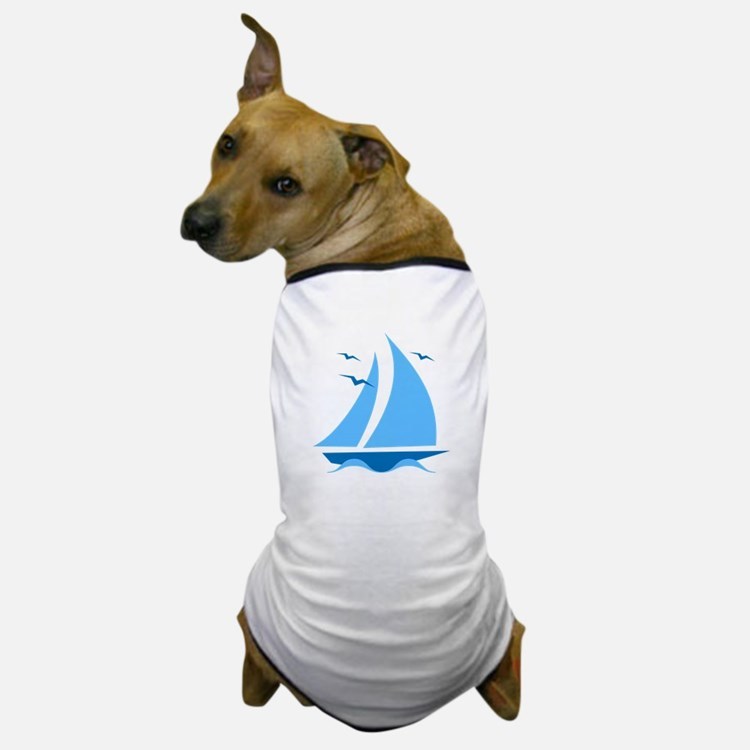 Blue Sailboat Dog T-Shirt
