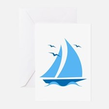 Blue Sailboat Greeting Cards (Pk of 20)