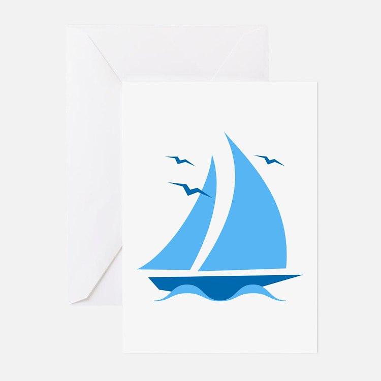 Blue Sailboat Greeting Cards (Pk of 20)