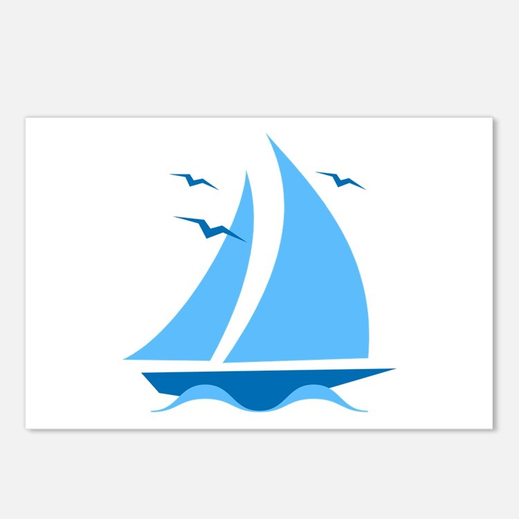 Blue Sailboat Postcards (Package of 8)