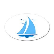 Blue Sailboat Wall Decal