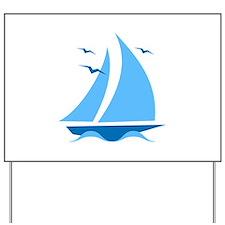 Blue Sailboat Yard Sign