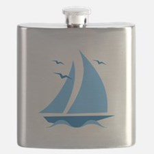 Blue Sailboat Flask