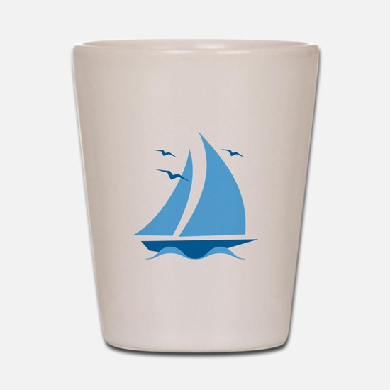 Blue Sailboat Shot Glass