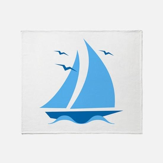 Blue Sailboat Throw Blanket