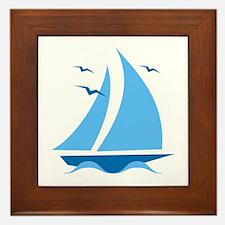 Blue Sailboat Framed Tile