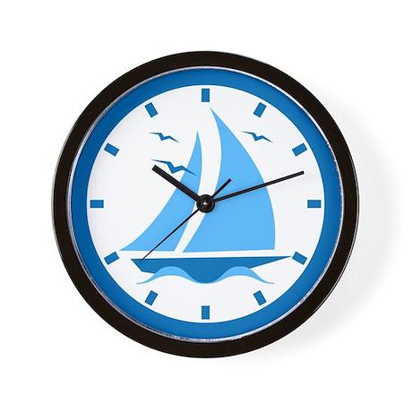 Blue Sailboat Wall Clock