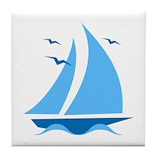 Blue Sailboat Tile Coaster