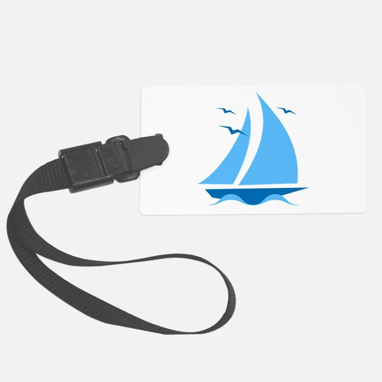Blue Sailboat Luggage Tag