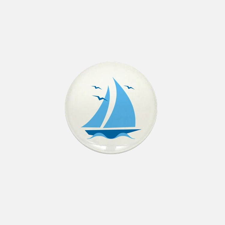 Blue Sailboat Mini Button