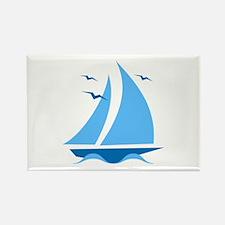 Blue Sailboat Rectangle Magnet