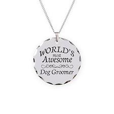 Dog Groomer Necklace Circle Charm