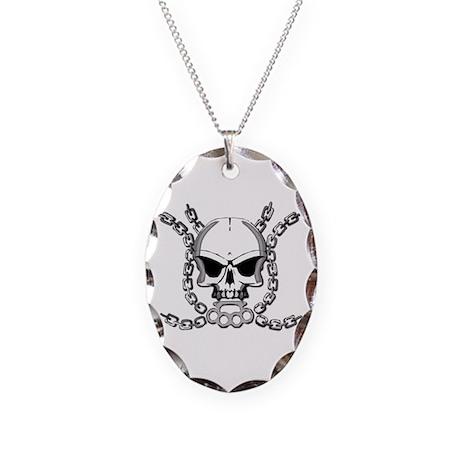 Brass knuckle skull 6 Necklace Oval Charm