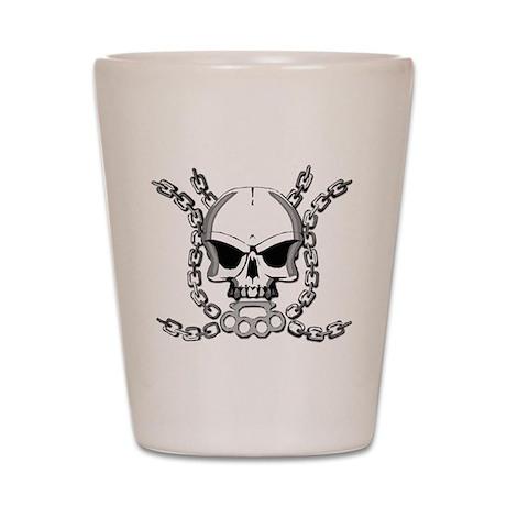 Brass knuckle skull 6 Shot Glass