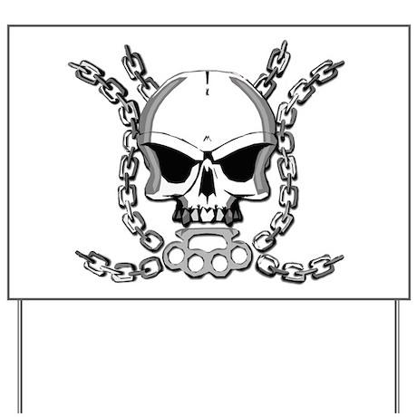 Brass knuckle skull 6 Yard Sign