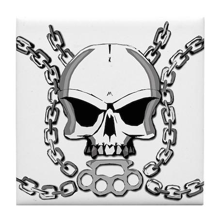 Brass knuckle skull 6 Tile Coaster