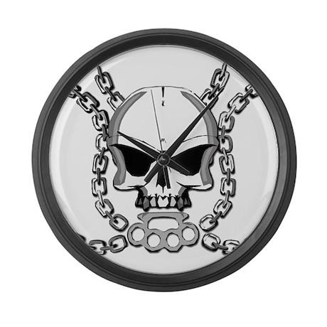 Brass knuckle skull 6 Large Wall Clock