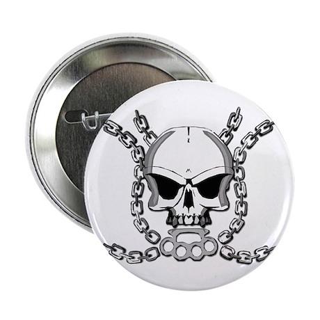 "Brass knuckle skull 6 2.25"" Button (100 pack)"