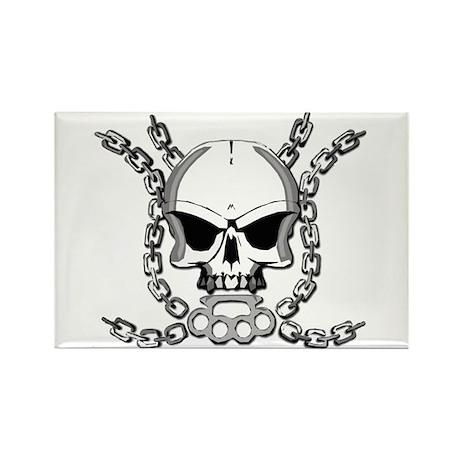 Brass knuckle skull 6 Rectangle Magnet (10 pack)