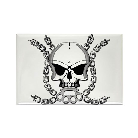 Brass knuckle skull 6 Rectangle Magnet (100 pack)
