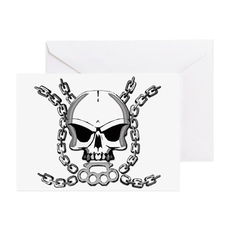 Brass knuckle skull 6 Greeting Cards (Pk of 10)