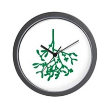 Green Mistletoe Wall Clock