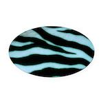 Zebra Blues Oval Car Magnet
