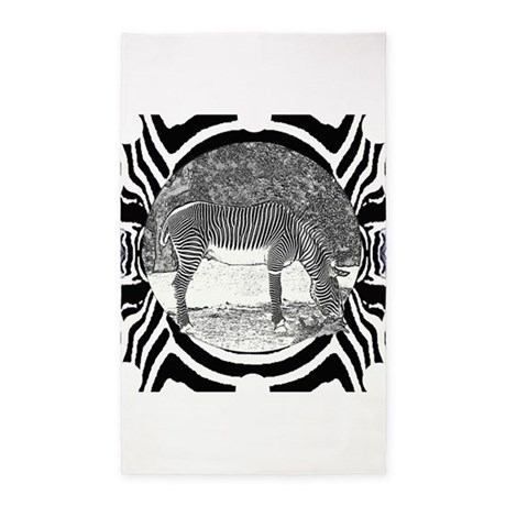zebra on pattern 3'x5' Area Rug