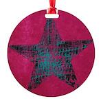 Blue Star Round Ornament