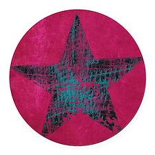Blue Star Round Car Magnet