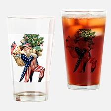 Uncle Sam Santa Claus Christmas Drinking Glass