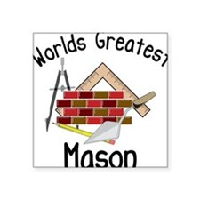 "Worlds Greatest Mason Square Sticker 3"" x 3"""