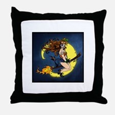 Voodoo Girl Witch Throw Pillow