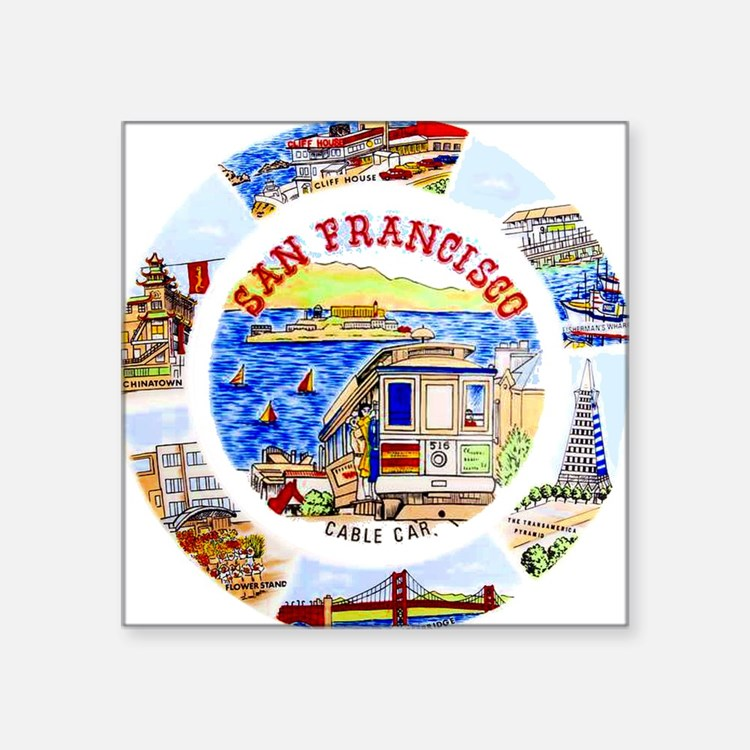 Vintage San Francisco Souvenir Graphics Square Sti