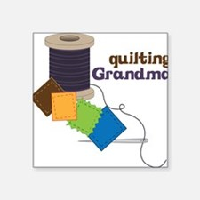 "Quilting Grandma Square Sticker 3"" x 3"""