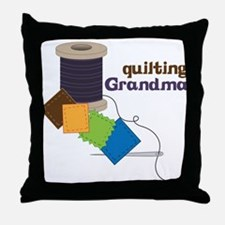 Quilting Grandma Throw Pillow