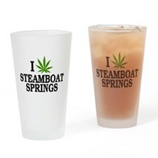 I Love Cannabis Steamboat Springs Drinking Glass